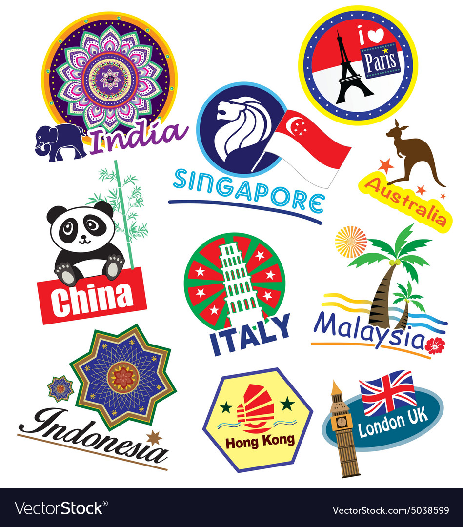 Travel landmark icon set vector image