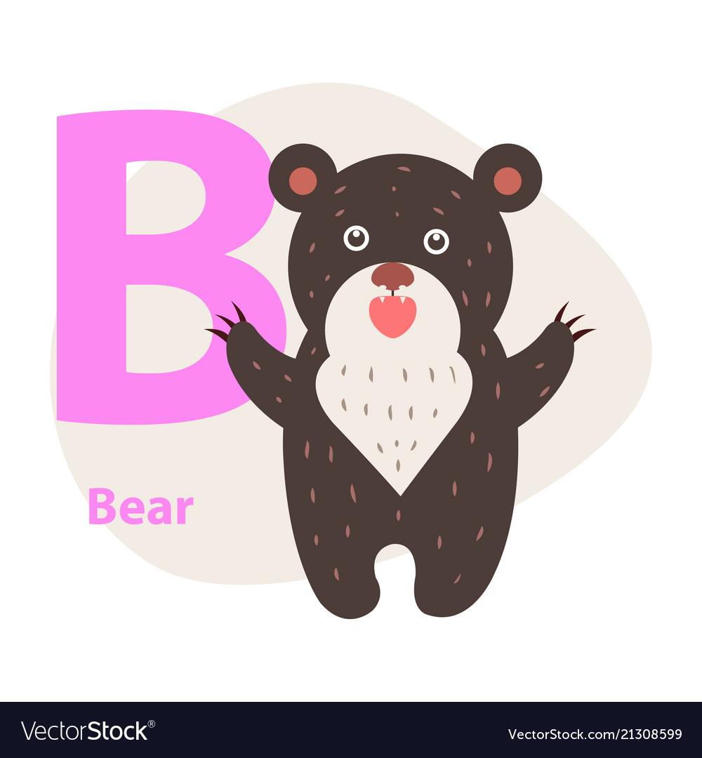 Zoo abc letter with cute bear cartoon