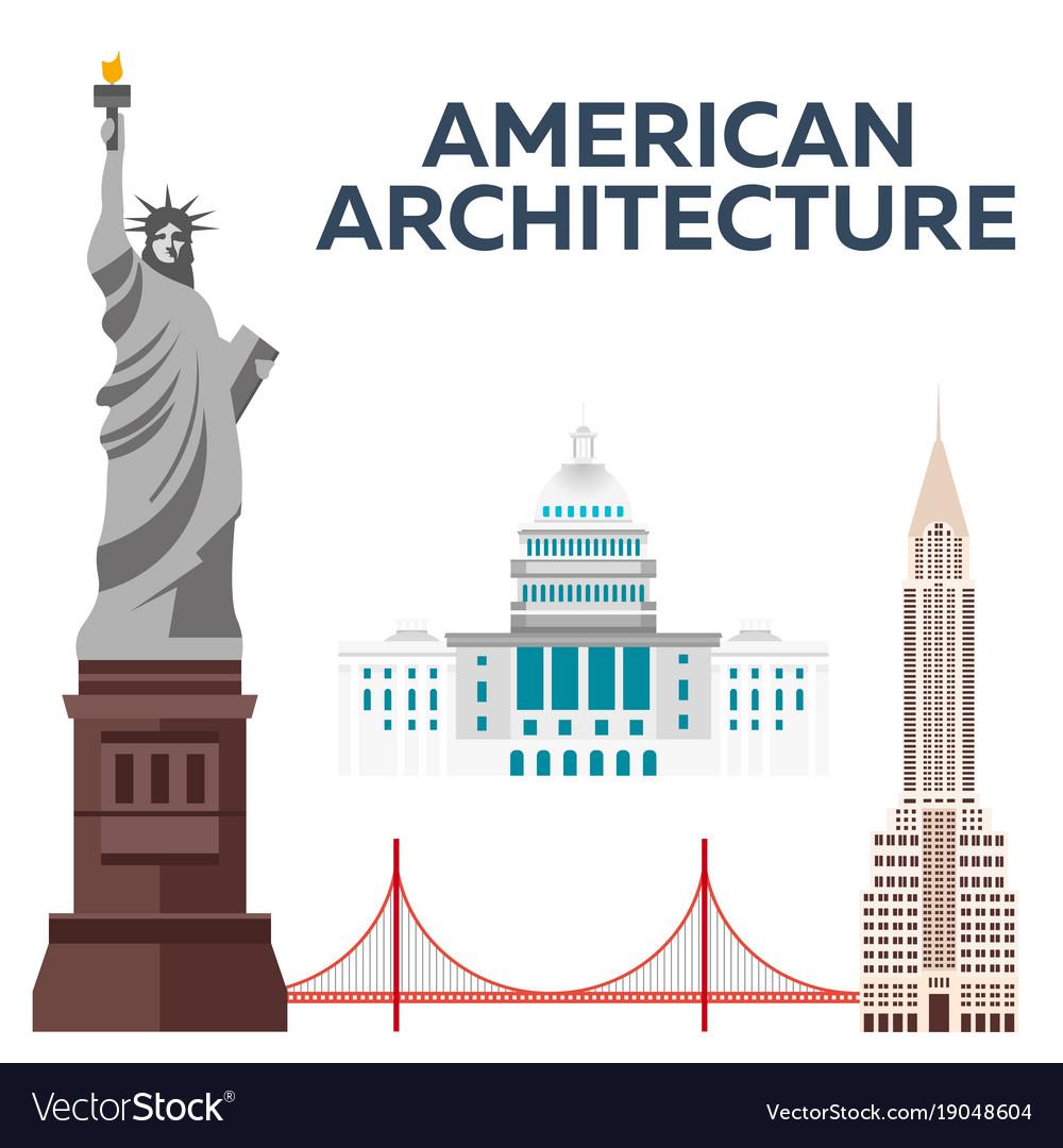 American architecture modern flat design