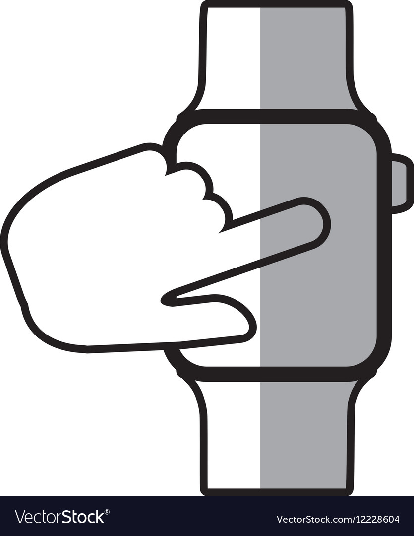 Finger touch smart watch wearable shadow vector image