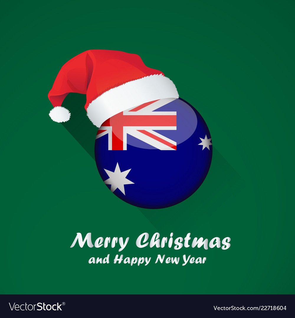 Australia Christmas.Flag Of Australia Merry Christmas And Happy New