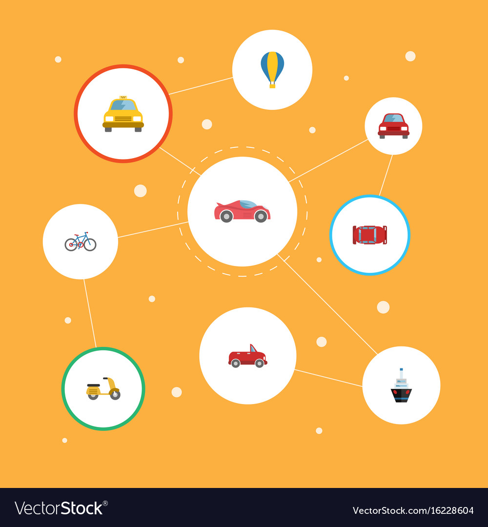 Flat icons luxury auto boat automobile and other
