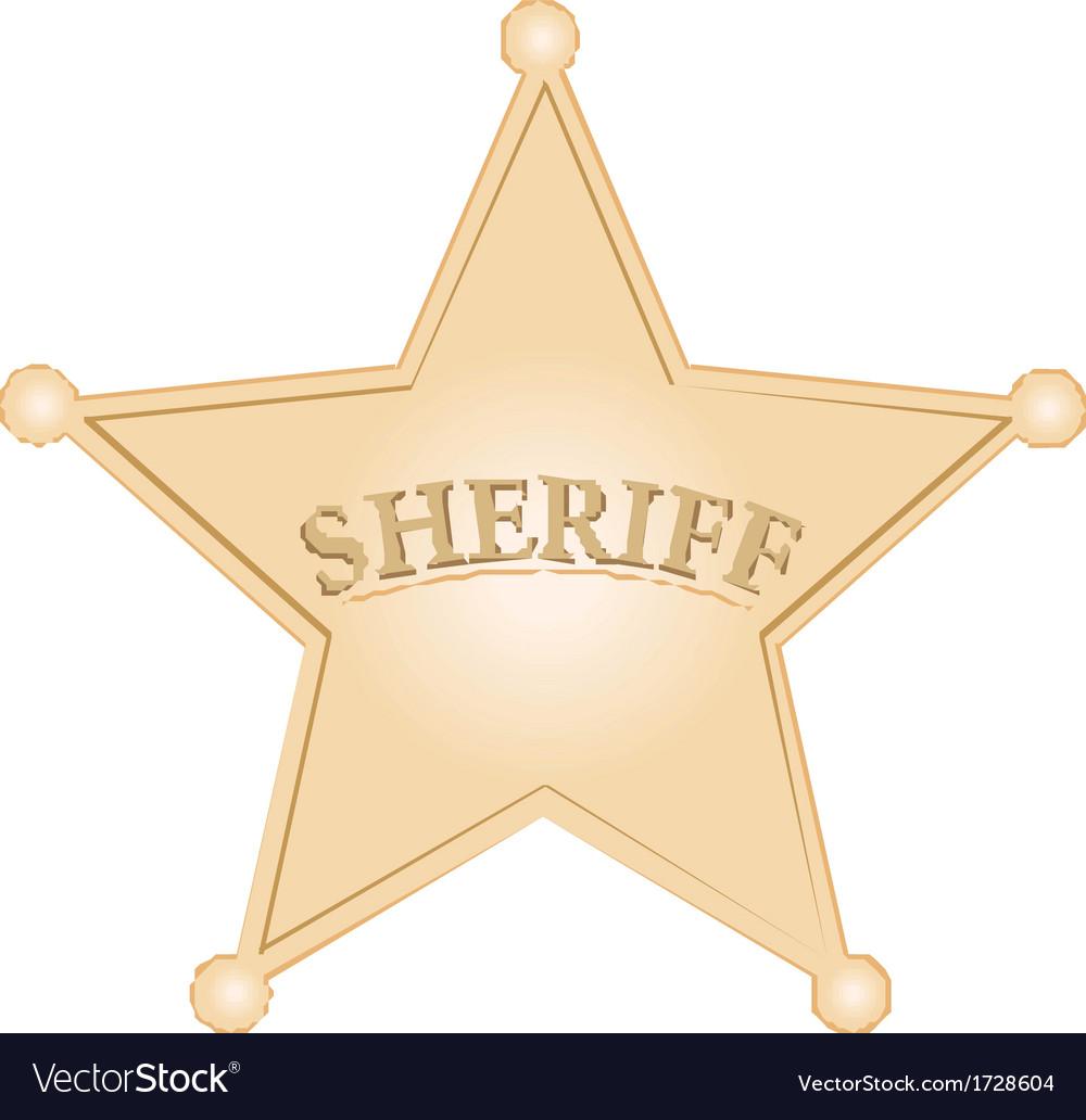 Golden Sheriff Star over white background vector image