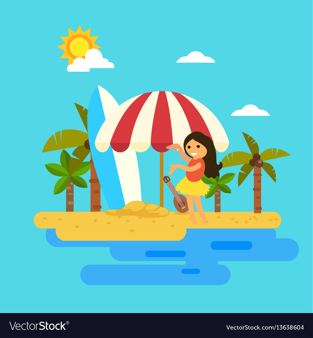 Hello summerwoman dancing on the beach vector image