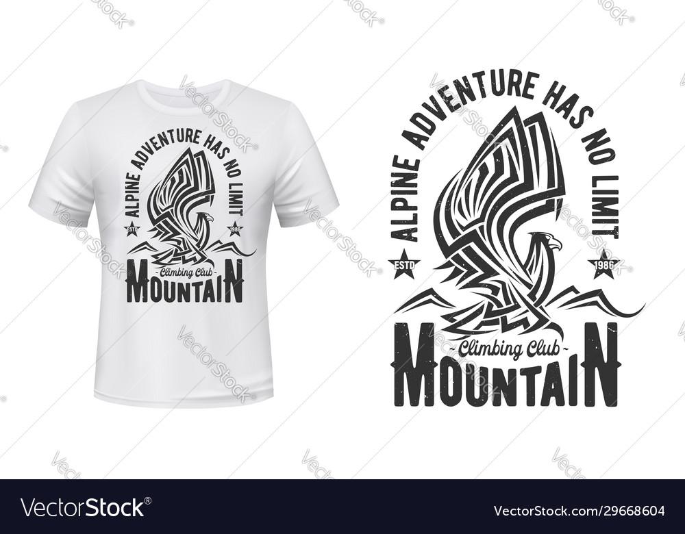 Hiking sport club t-shirt print mountain eagle