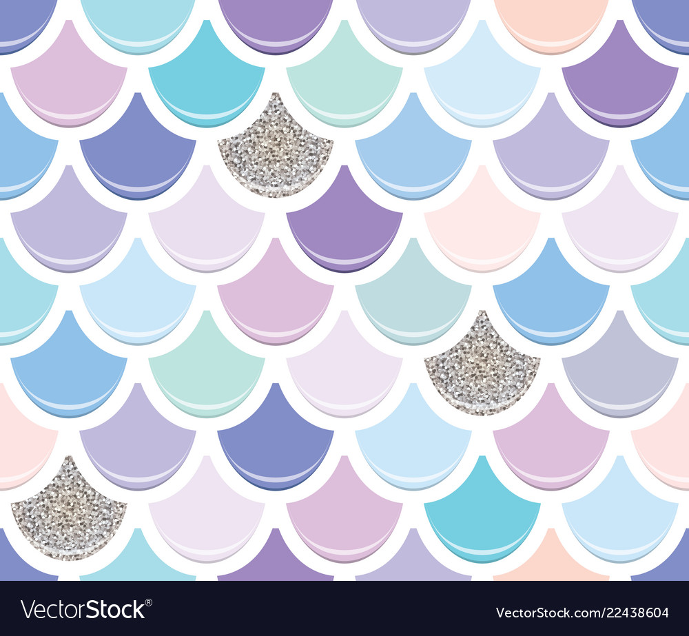Mermaid tail seamless pattern with silver glitter