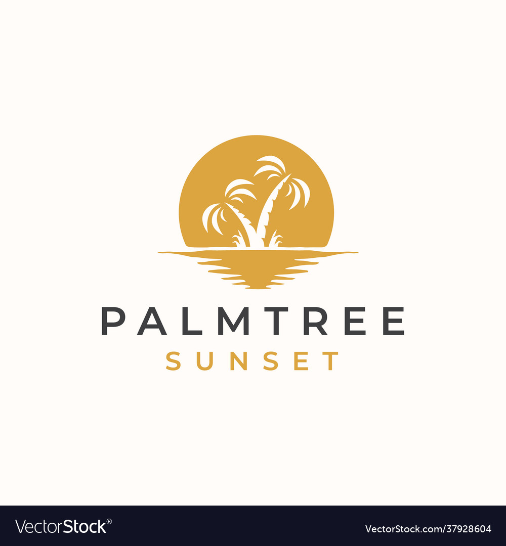 Palm tree with sunset background logo template