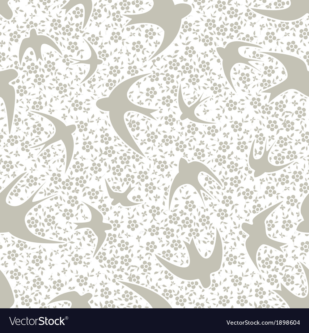 Pattern With Swallow And Flower Royalty Free Vector Image