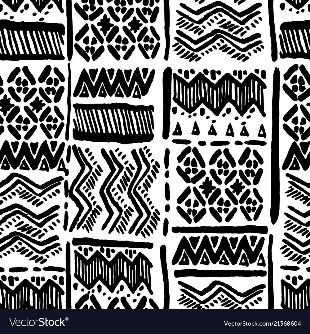 Seamless hand-drawn ethnic black and white