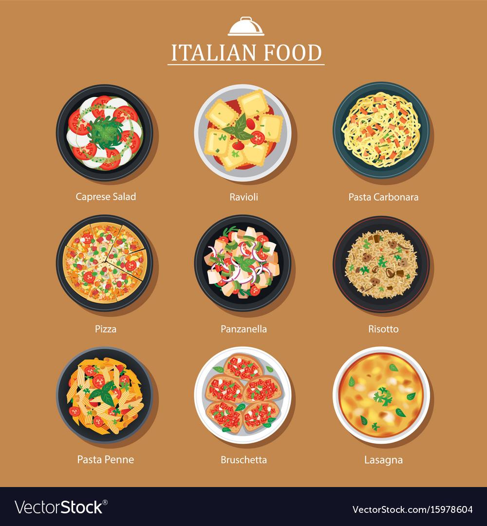 Set of italian food flat design vector image