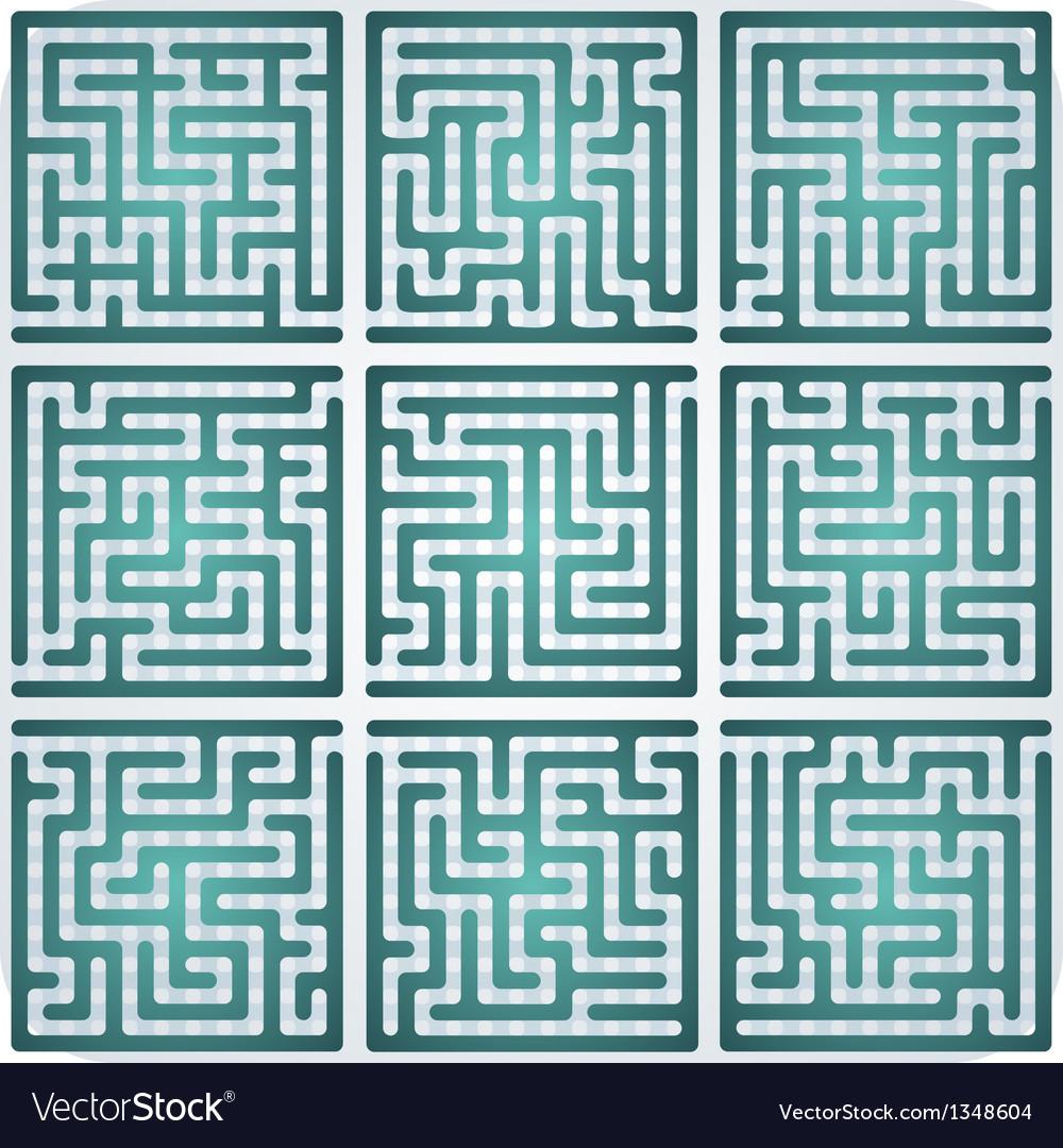 Set of Maze for kids vector image