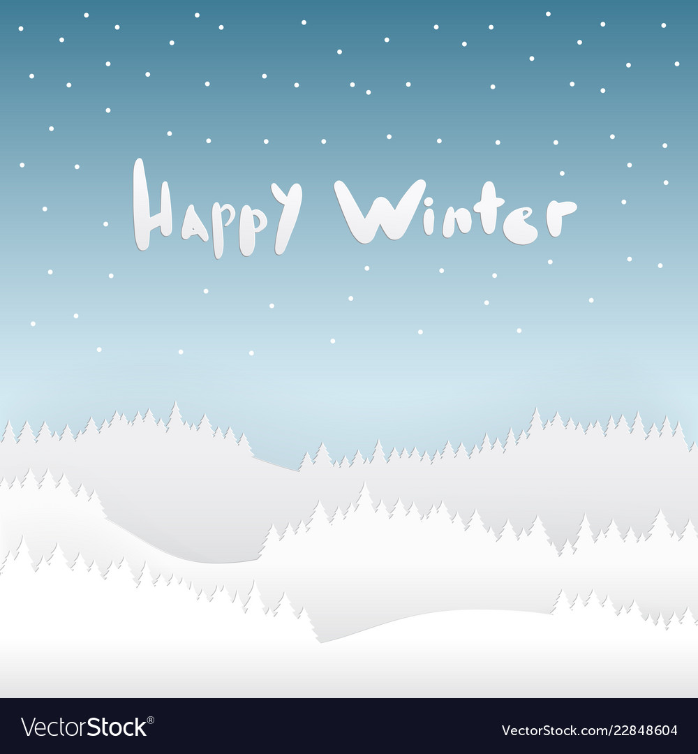 Snow and happy winter season background with