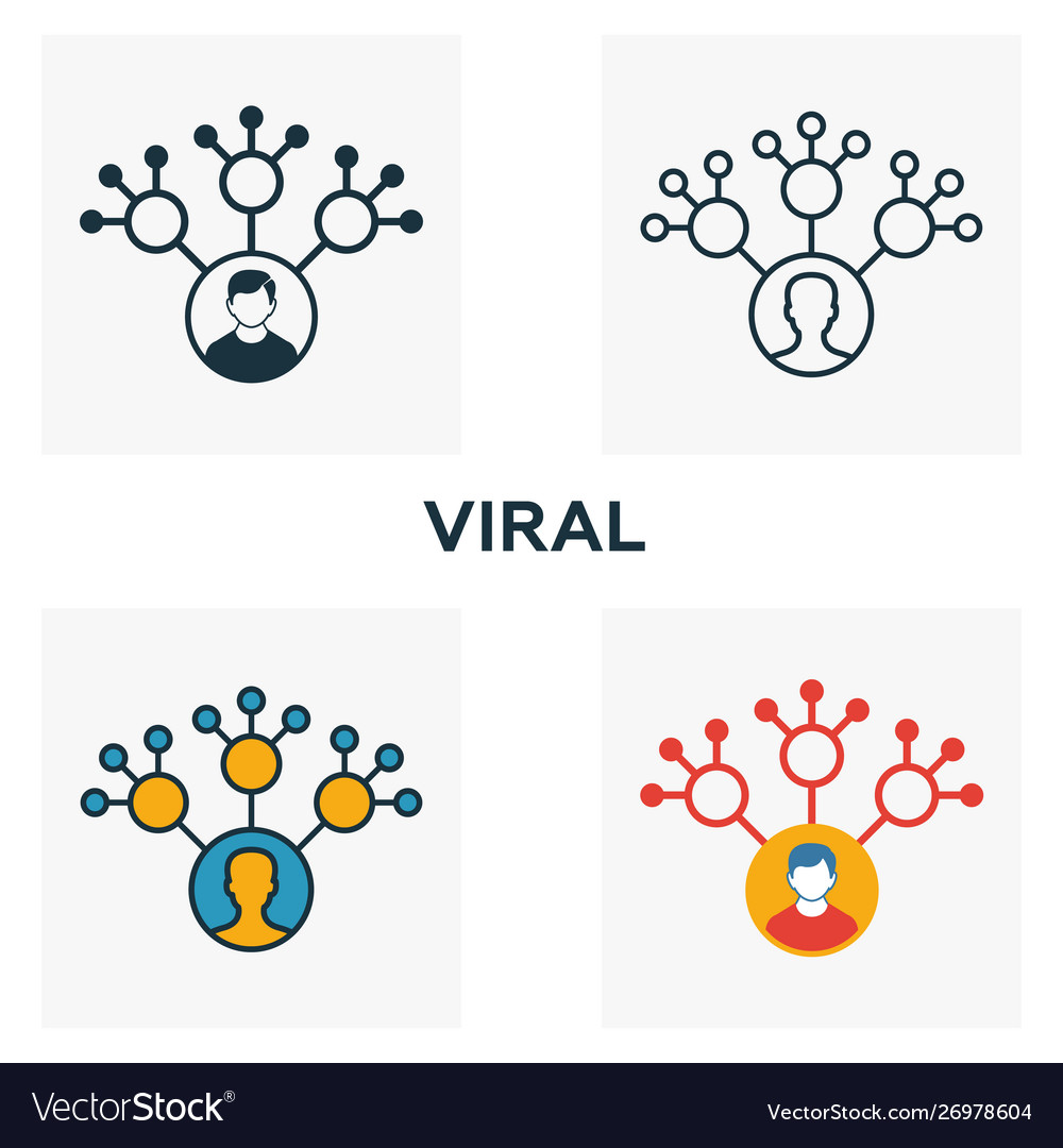 Viral icon set four elements in diferent styles