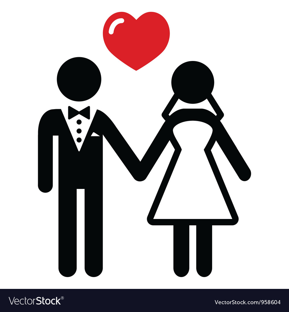 Wedding Married Couple Icon Royalty Free Vector Image