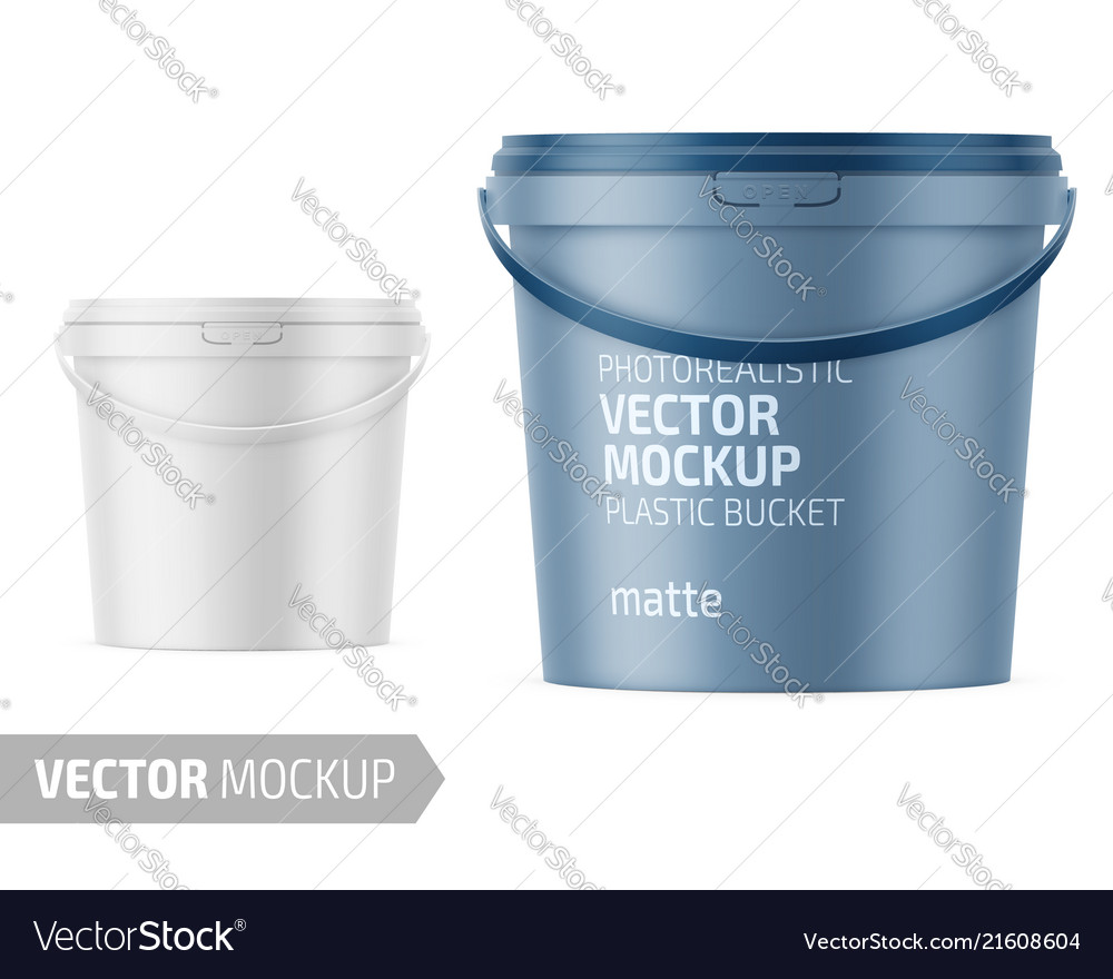 White matte plastic bucket mockup with label