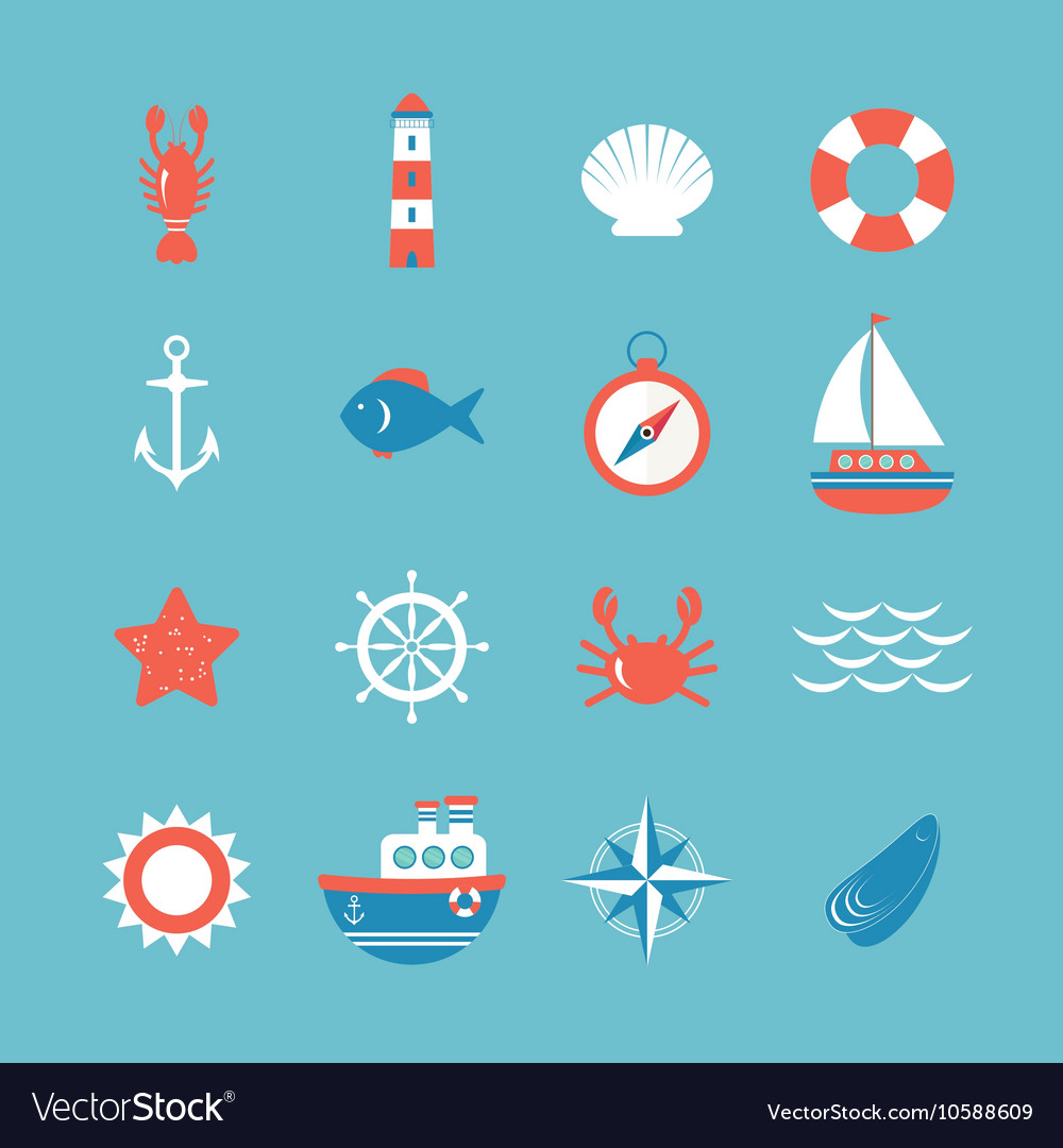 Decorative nautical icon set Marine theme