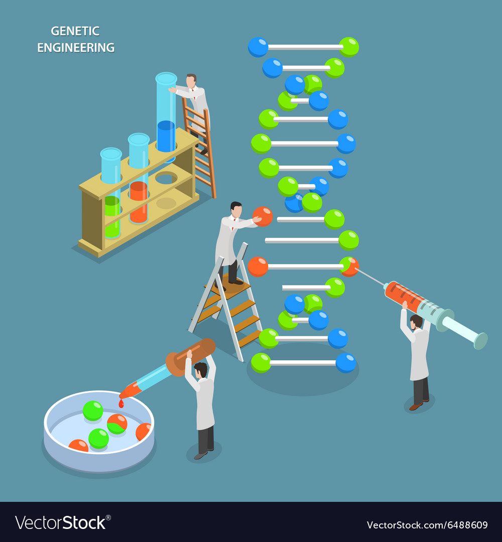 Genetic engineering isometric flat concept