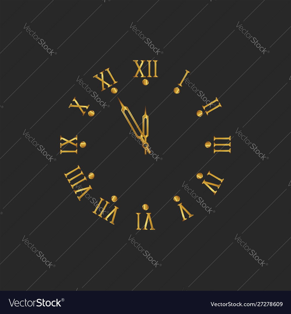 Golden clock dial with roman numerals and arrows