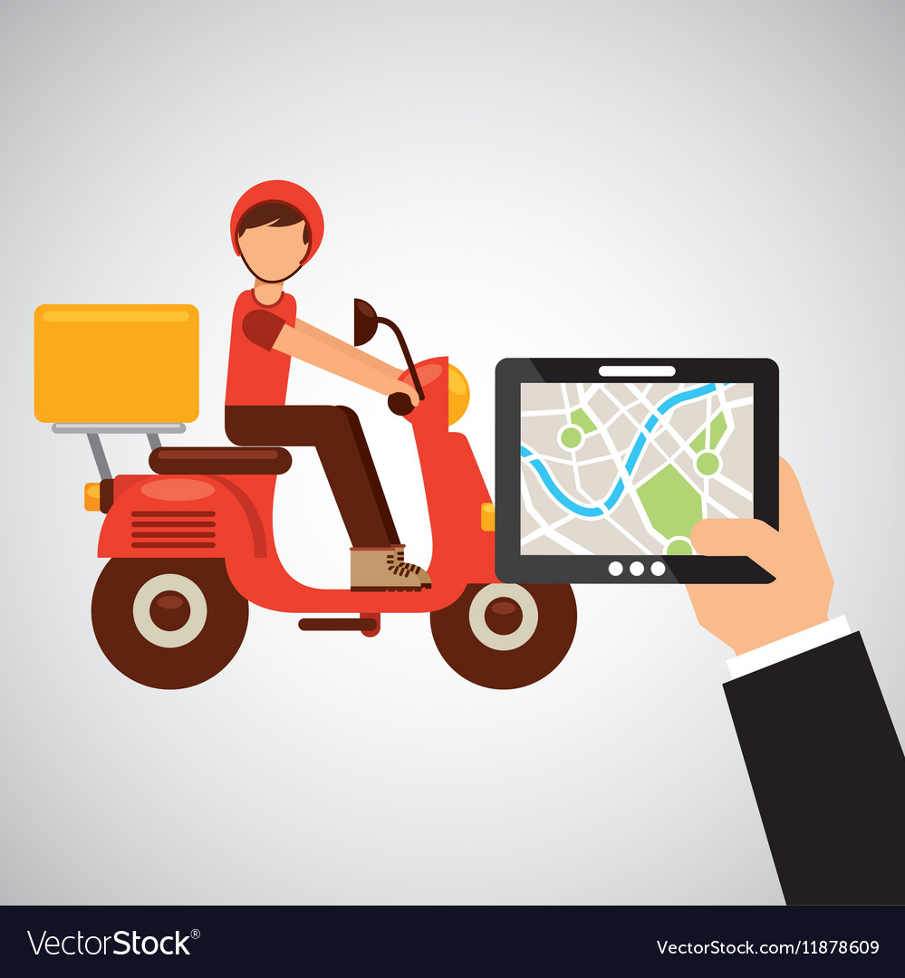 Hand hold tablet delivery food boy