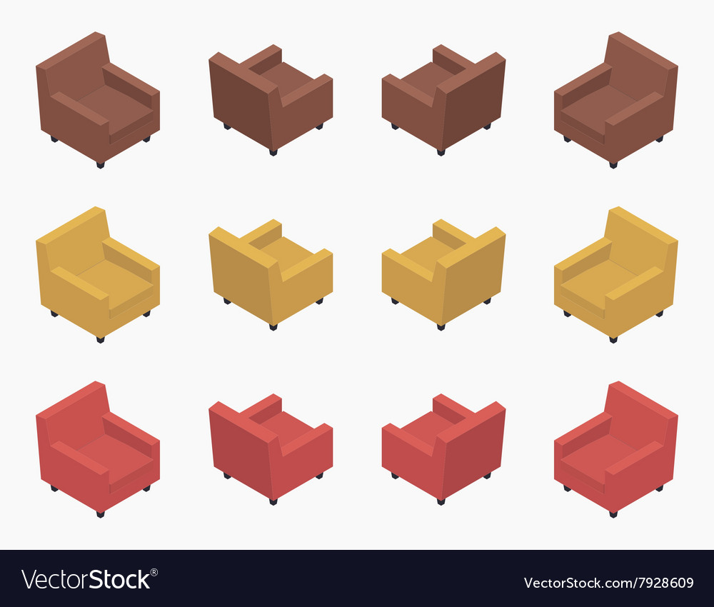 Isometric modern colored armchairs vector image