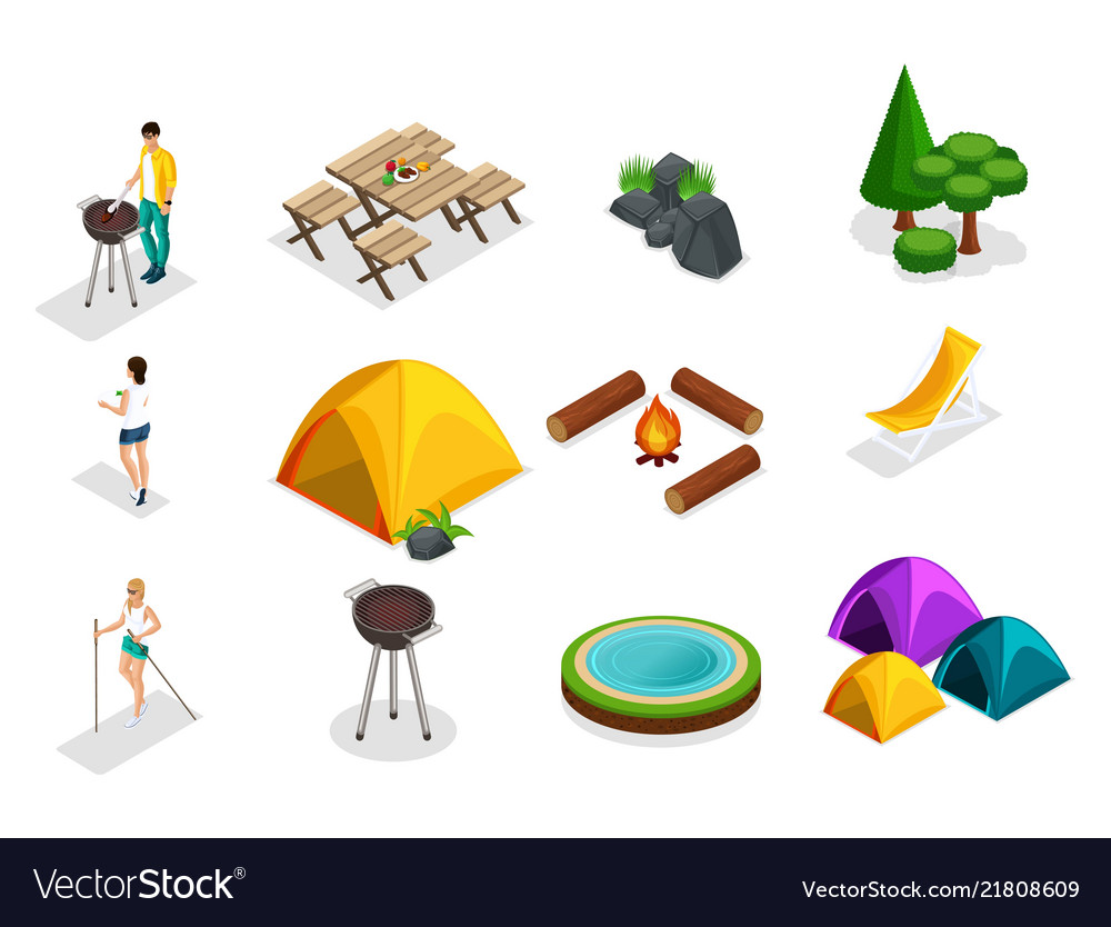 Isometric set of camping icons trees