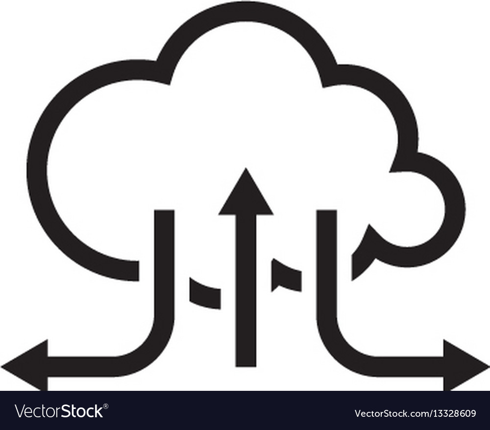 Online cloud solutions flat design icon Royalty Free Vector
