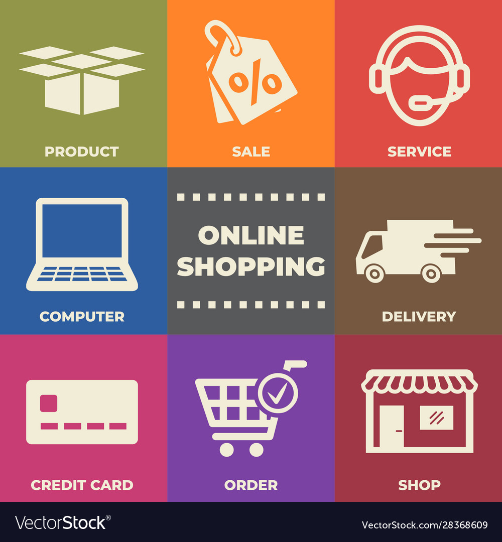 Online shopping concept with icons and signs