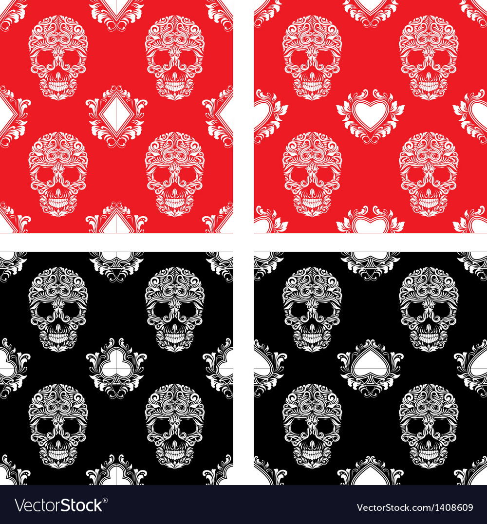 Playing Card and Skull Ornamental Pattern
