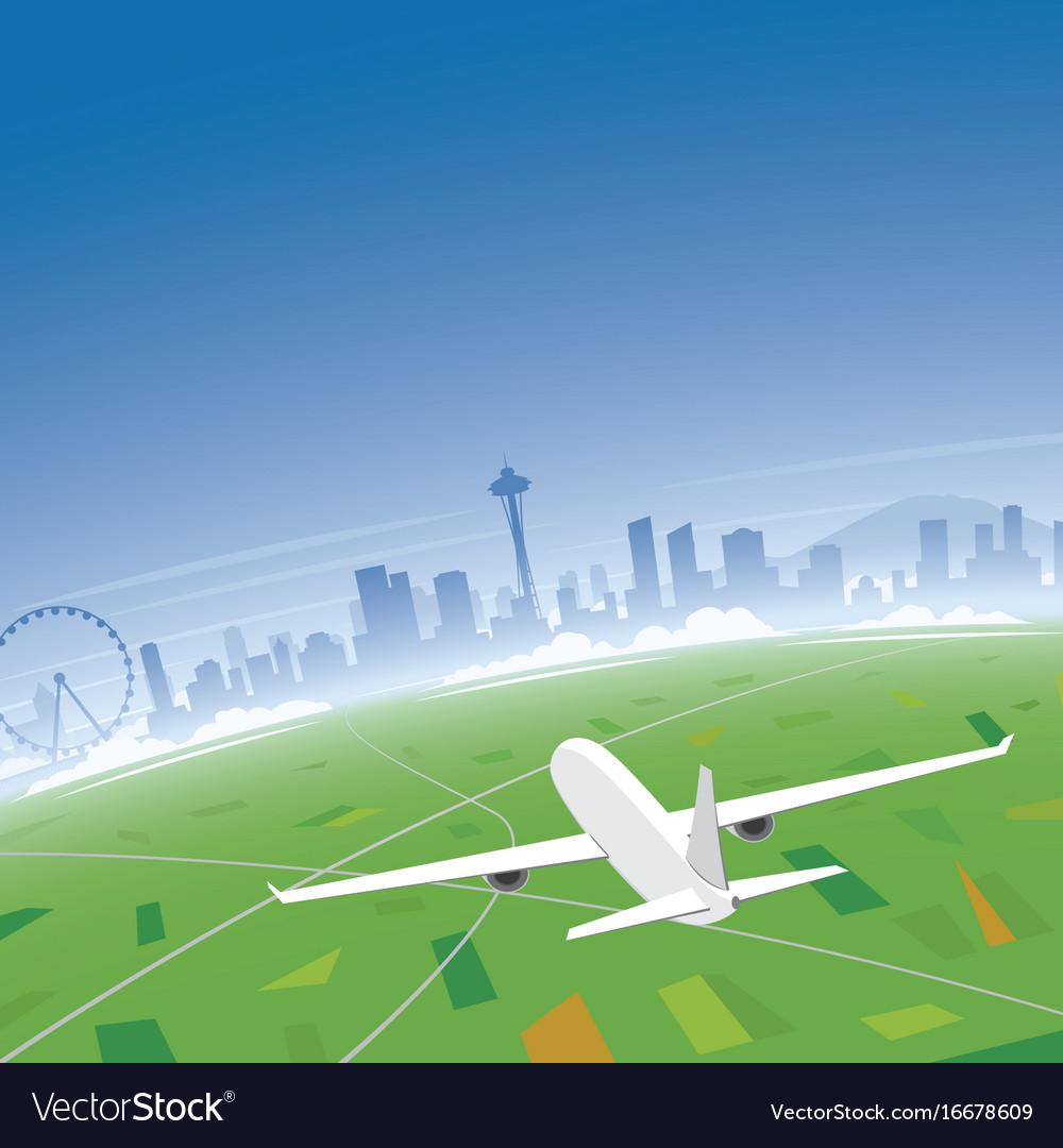 Seattle skyline flight destination vector image