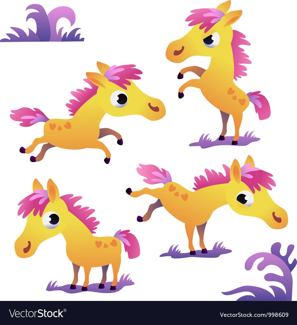 Set of cute cartoon pony