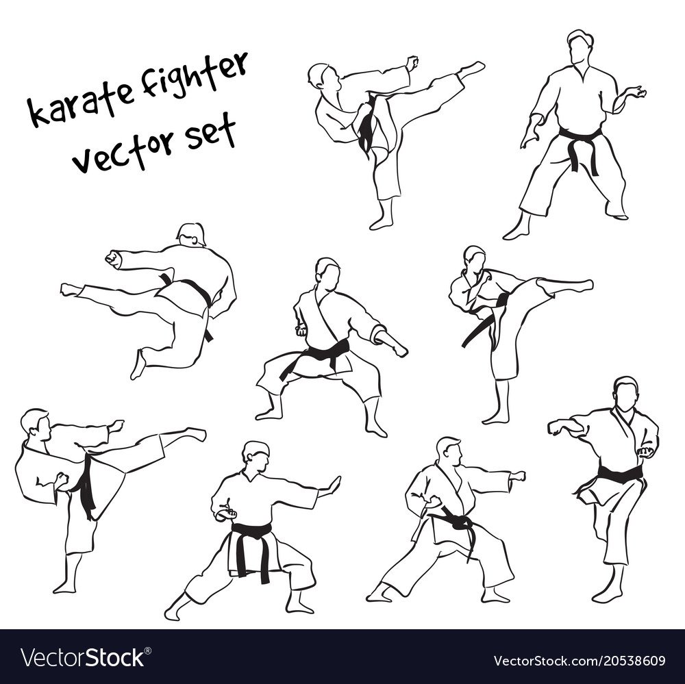 Silhouettes of karate fighters