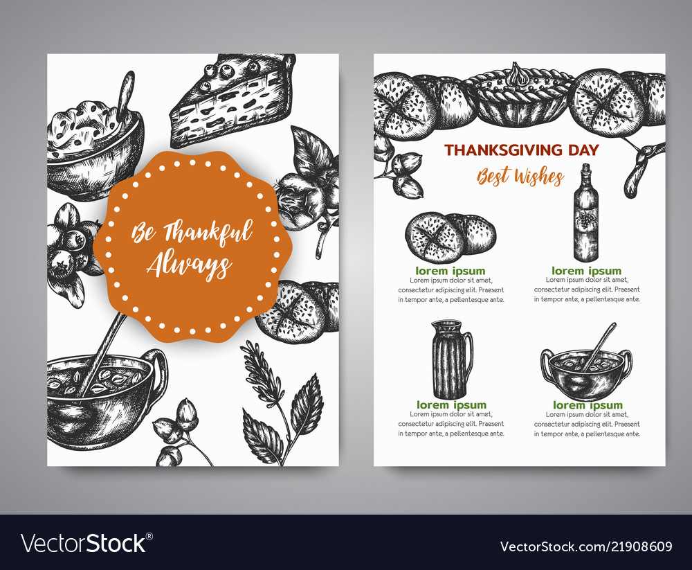 Thanksgiving day cards with hand drawn