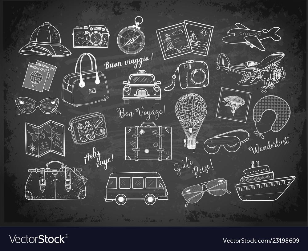 Travel doodles on blackboard background