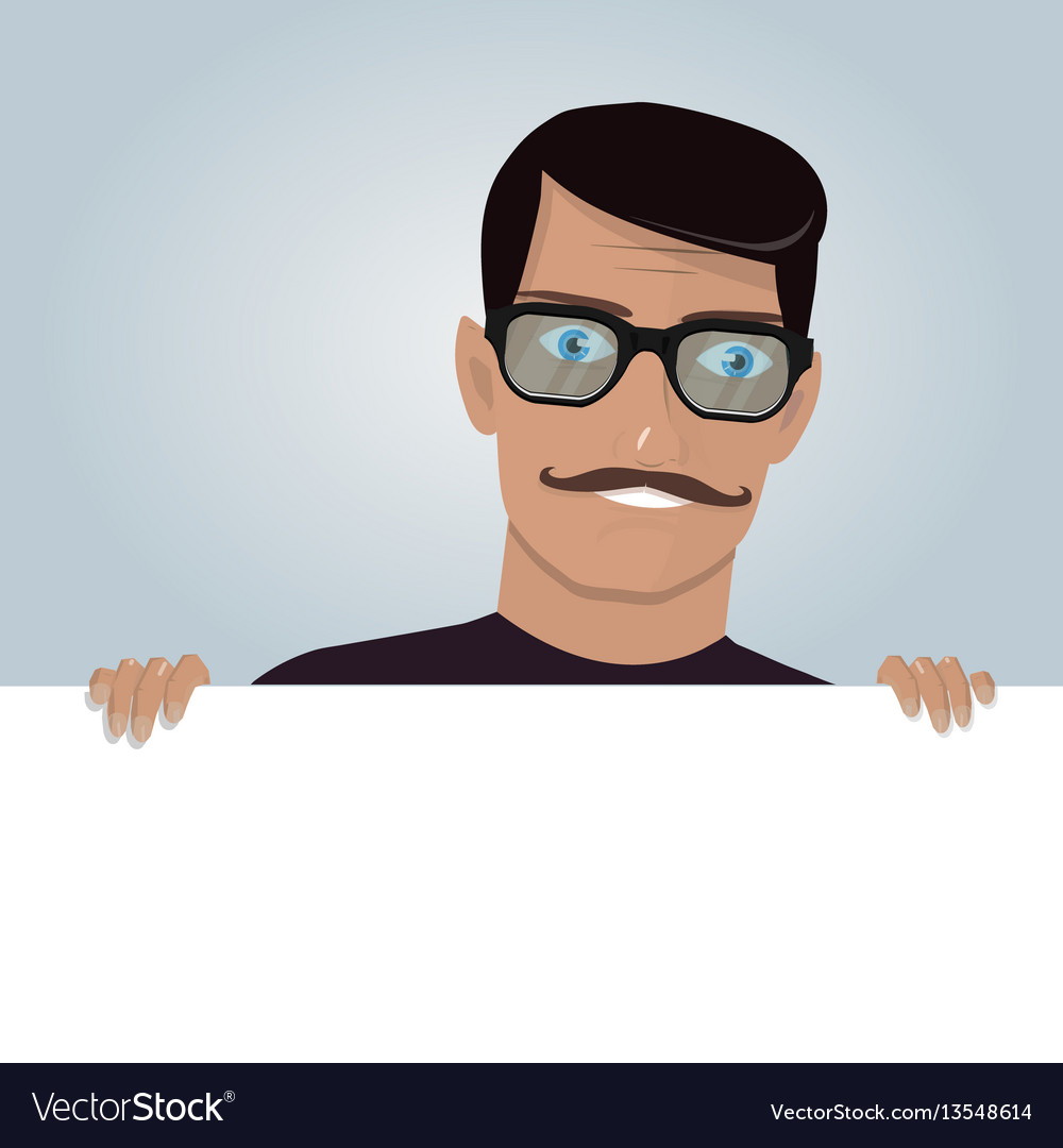 Cartoon man and blank paper for web site user
