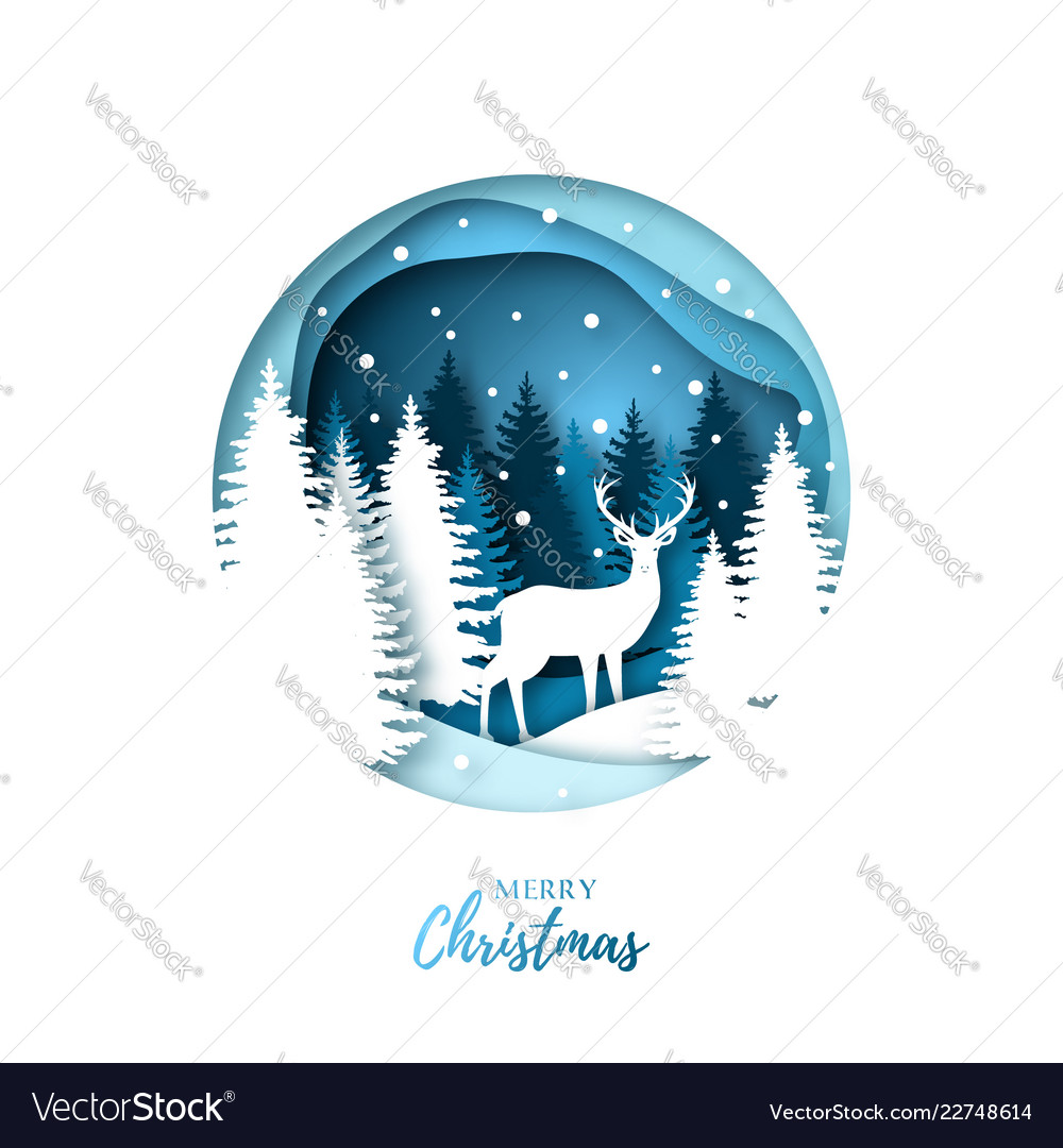 Deer in winter night forest paper cut style