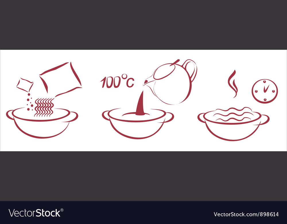 Fast soop schema of cooking vector image