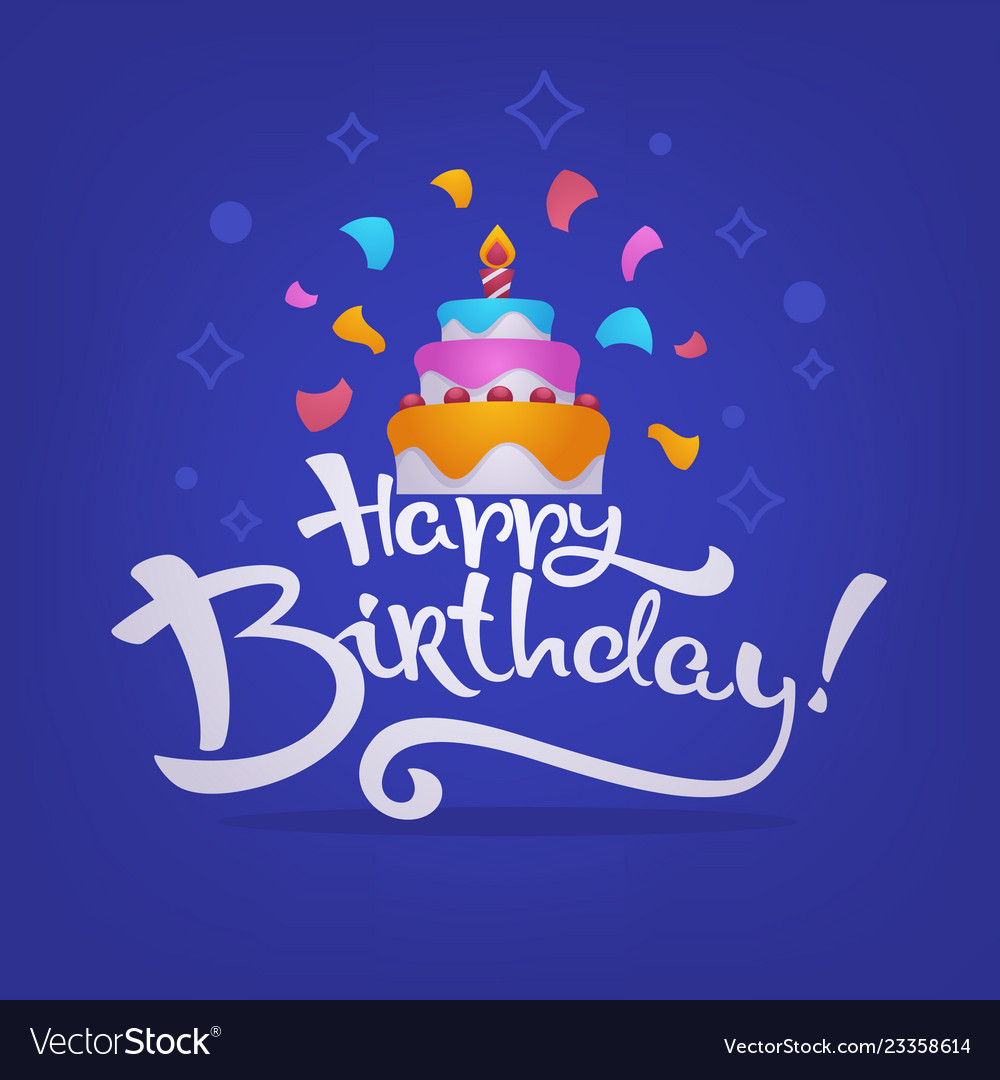 Happy Birthday Card Background With Image Of Vector Image