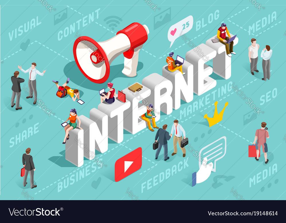 Internet content marketing banner vector image