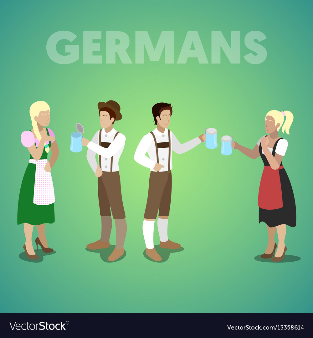 Isometric german people in traditional clothes