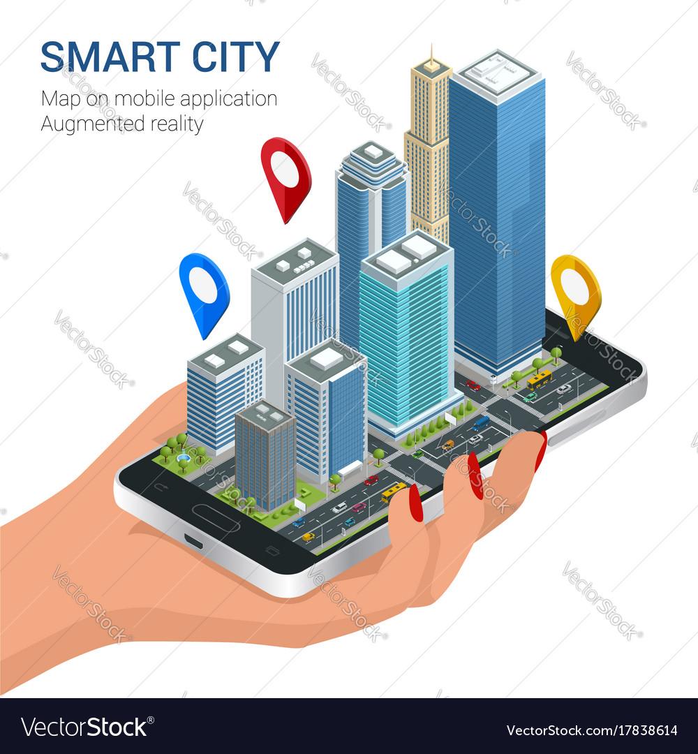 Isometric smart city concept mobile gps