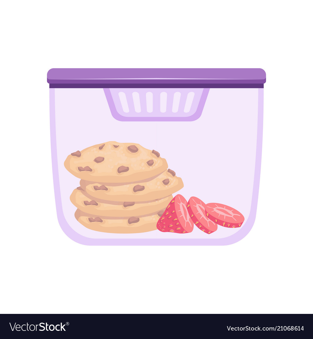 Lunch box with cookie and strawberry healthy food