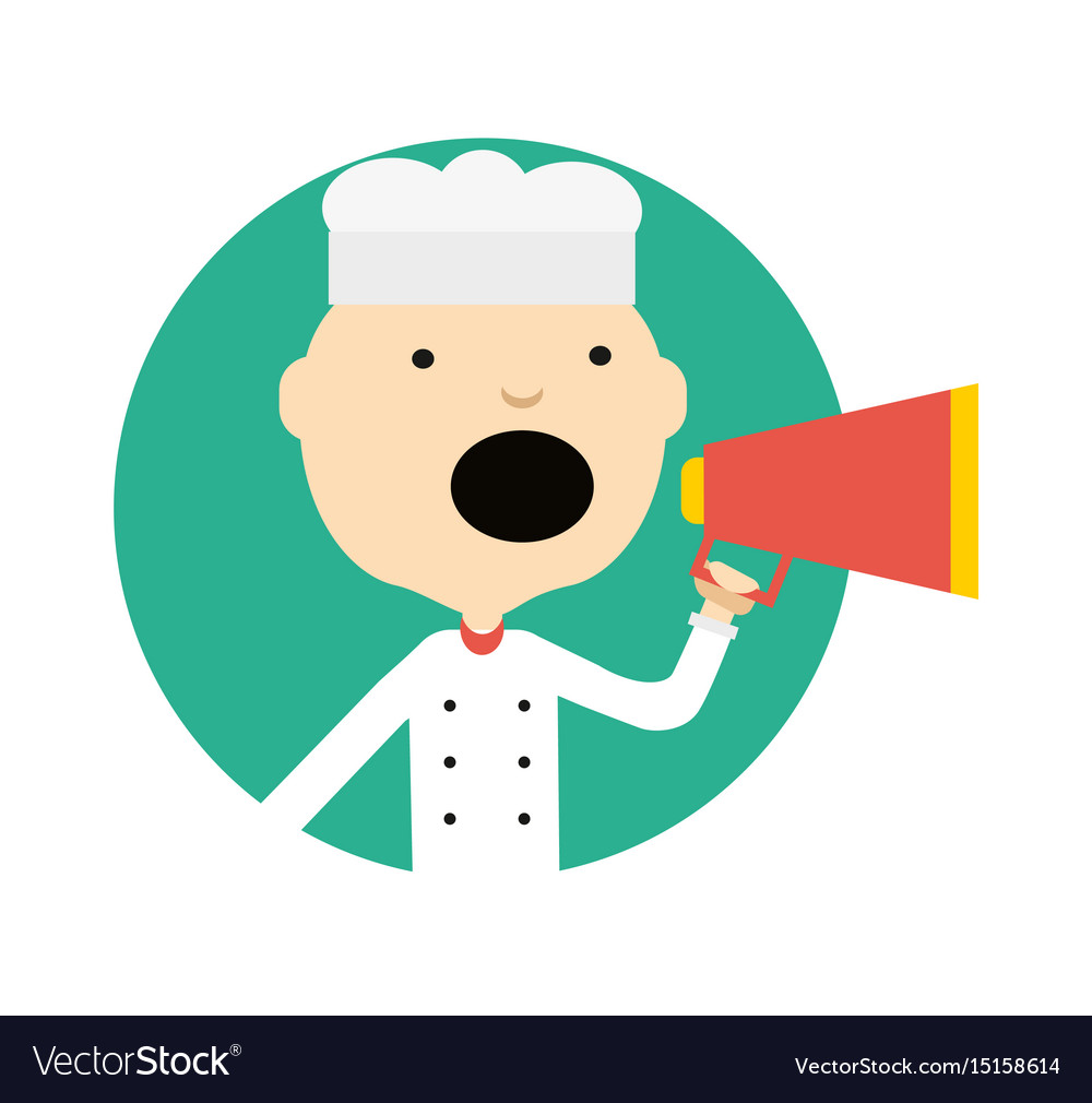 Male cook in uniform with megaphone icon