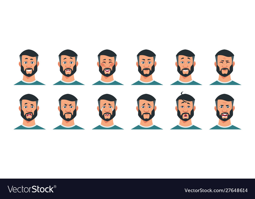 Man expressions cartoon character with happy