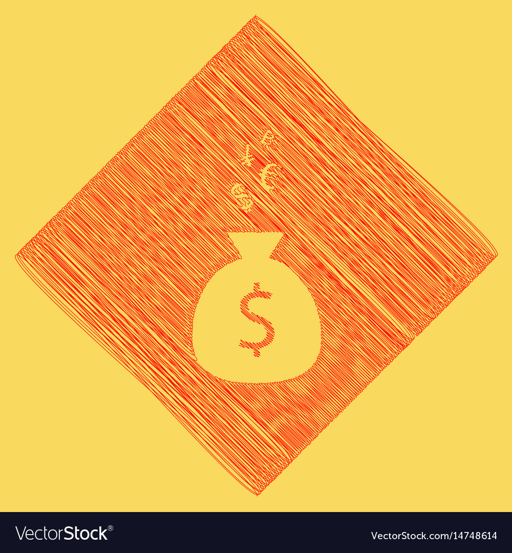 Money bag sign with currency symbols red
