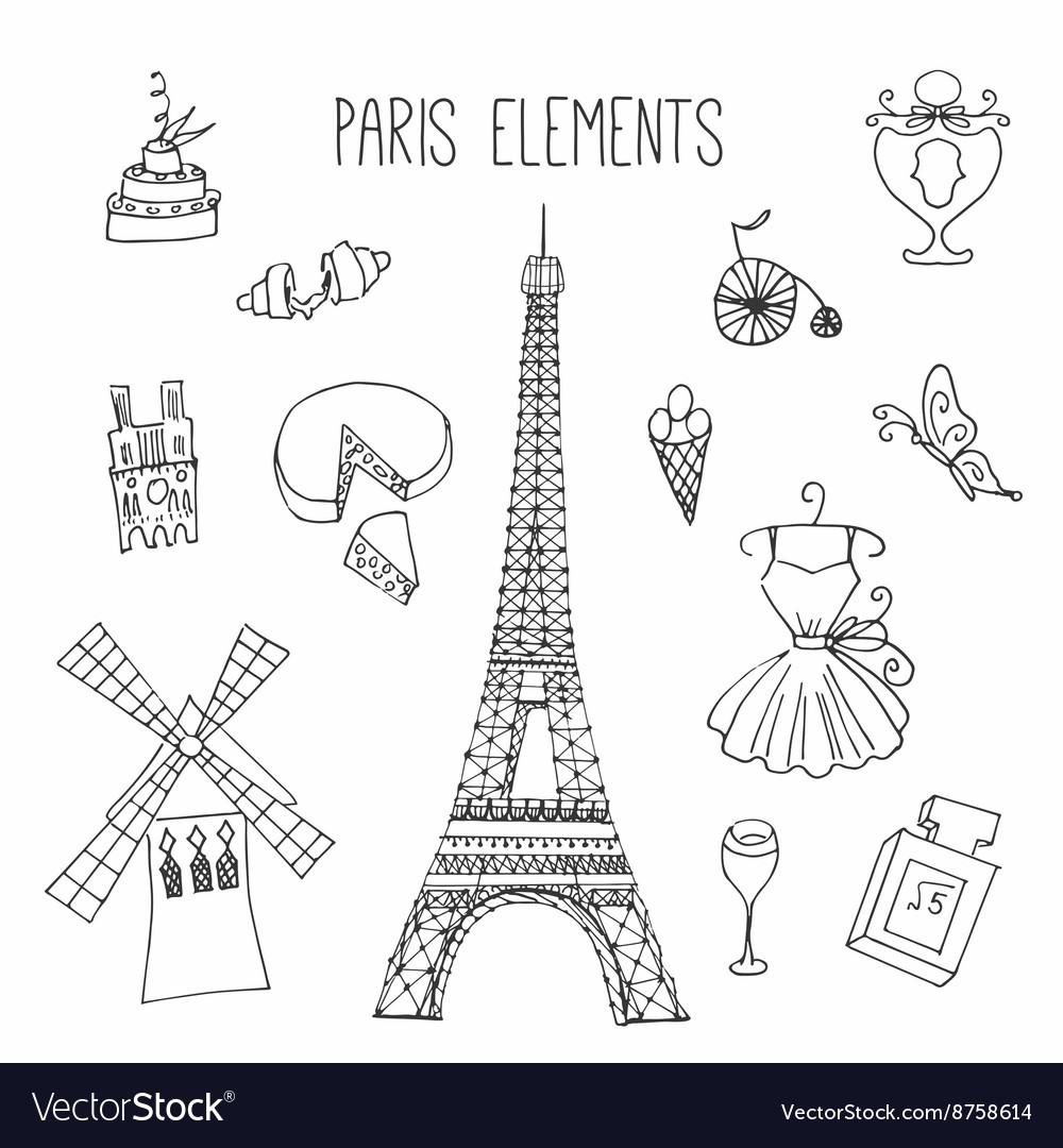 Paris Hand drawn france elements