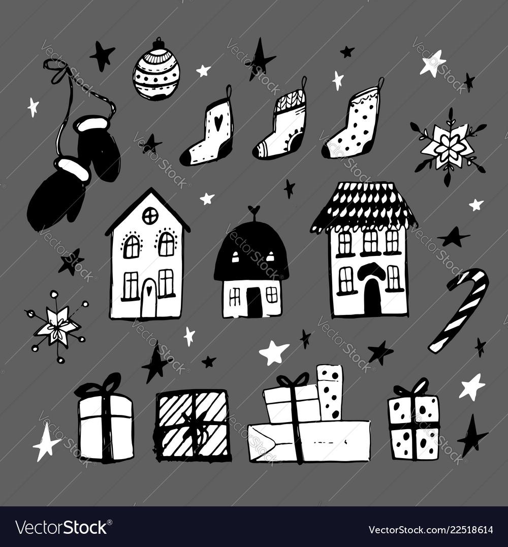 Set christmas design doodle elements ha