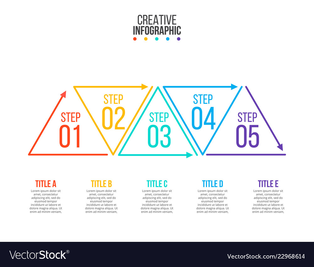 thin line flat triangles for infographic template vector image