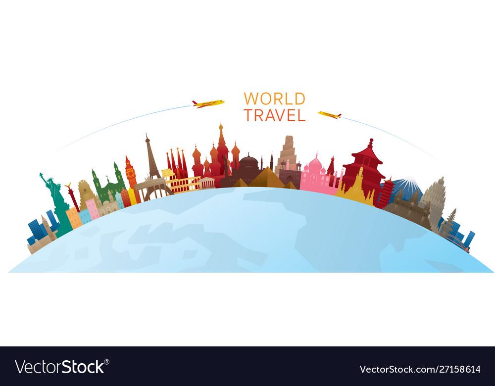 World skyline curve landmarks silhouette colorful