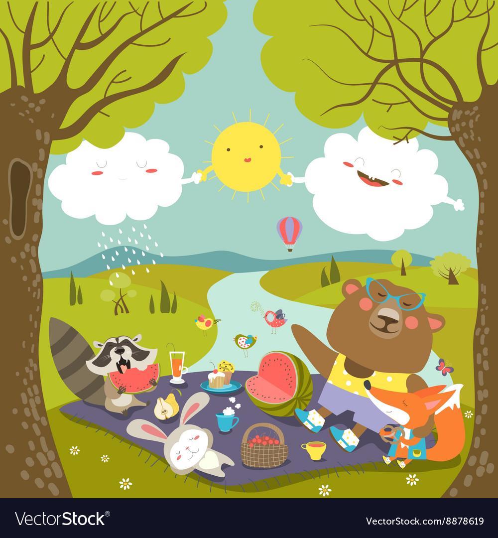 Animals at picnic in forest
