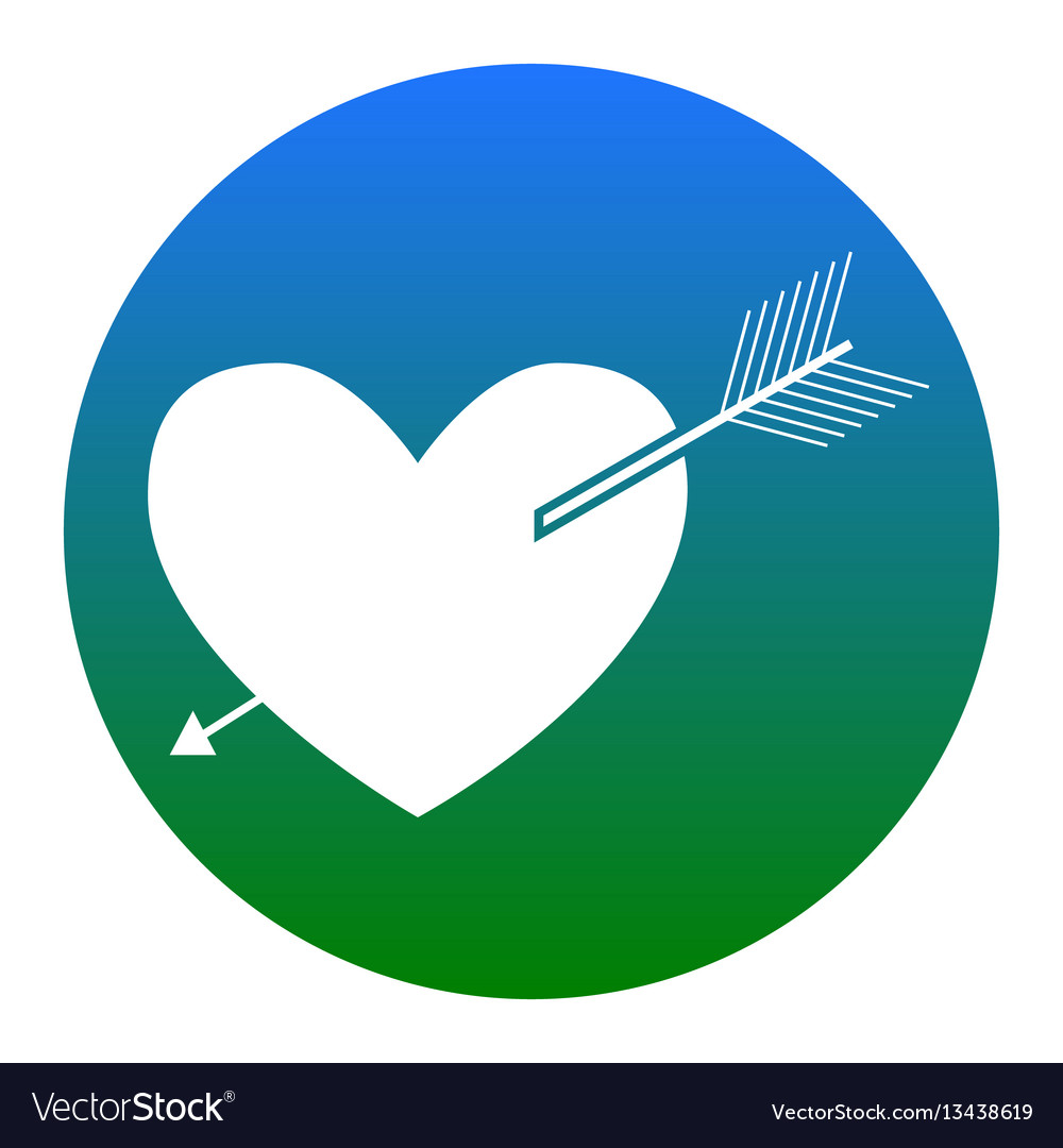 Arrow heart sign white icon in bluish vector image